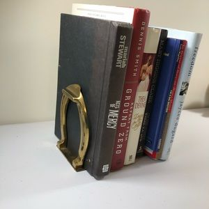 Accents - BRASS HORSE SHOE BOOKENDS LUCKY HORSE SHOES